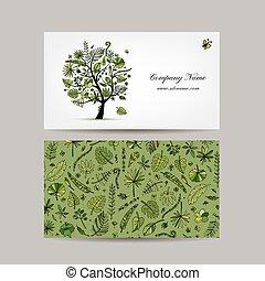 arbre tropical, carte affaires, conception