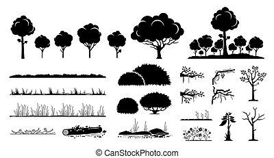 arbre, usines, design., graphique, herbe, vecteur