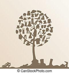arbre, vêtements