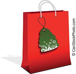arbre, vecteur, achats, noël, sac