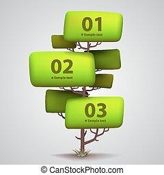 arbre, vecteur, bannière