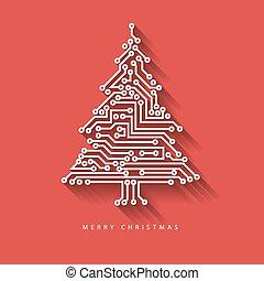 arbre, vecteur, circuit, numérique, électronique, noël