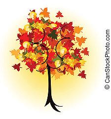 arbre, vecteur, conception, automne, beau
