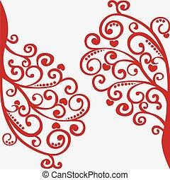 arbre, vecteur, conception, dentelle, ton, rouges