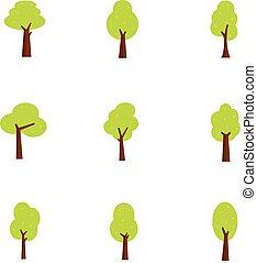 arbre, vecteur, ensemble, collection