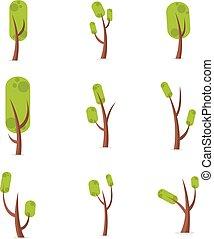 arbre, vecteur, ensemble, illustration