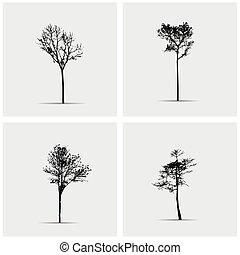 arbre, vecteur, ensemble, silhouettes.