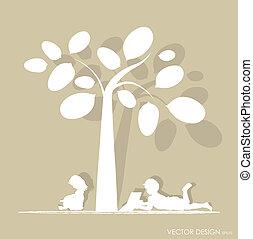 arbre., vecteur, illustration., lire, livre, fond, sous, enfants