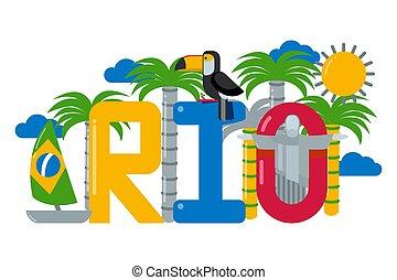 arbre, vecteur, logo, brésil, blanc, bateau, soleil, paume, rio, ville, isolé, texte, plat, illustration., toucan