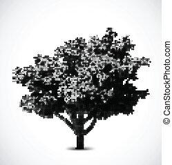 arbre., vecteur, noir, halftone