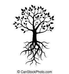 arbre, vecteur, noir, racines, pousse feuilles