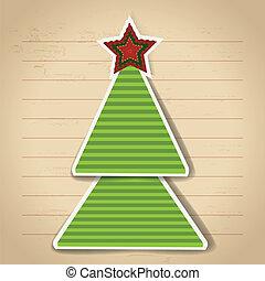 arbre., vecteur, papier, année, nouveau, noël carte