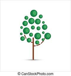 arbre, vecteur, plat, vert, illustration, style., blanc, arrière-plan.