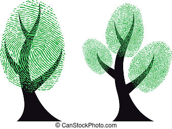 arbre, vecteur, vert, empreinte doigt