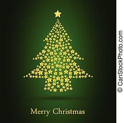 arbre vert, fond, or, noël