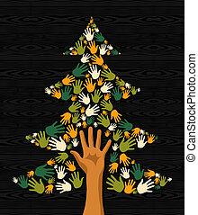 arbre vert, noël, mains