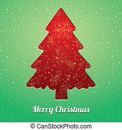 arbre, vert, noël, rouges, flocon de neige