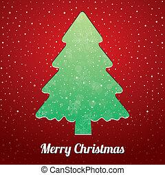 arbre, vert, noël, rouges, neige