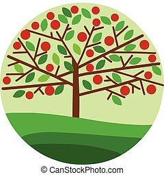 arbre vert, pomme, fond, rouges