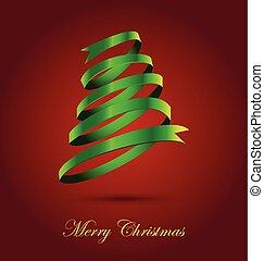 arbre, vert, ruban, fond, noël, rouges