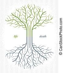 arbre, vie, classique, style, symbole., vecteur, cycle, dessin, linéaire, vie, mort, logo