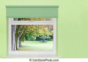 arbres automne, vue, fenêtre