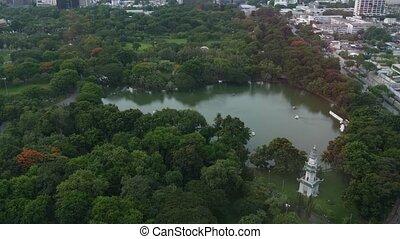 arbres, bangkok, bâtiments, lumphini, route, monter, rues, vue, métropolitain, city., parc, thaïlande, vert, bourdon, élevé