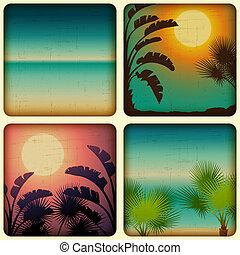 arbres., bord mer, exotique, paume, retro, cartes