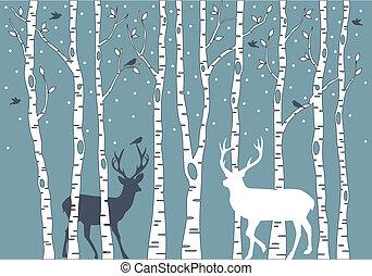 arbres bouleau, à, cerf, vecteur