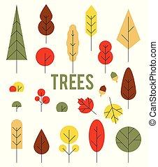 arbres., ensemble, coloré, style., automne, icônes, plat