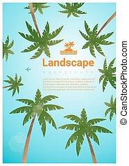 arbres, exotique, paume, fond, 5, plage, paysage