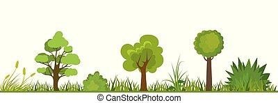 arbres, fleurs, herbe, landscape-, arbrisseaux, nature