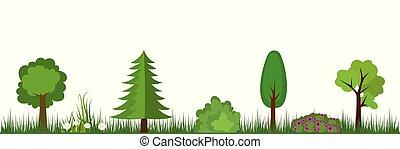 arbres, fleurs, herbe, landscape-, buissons, nature