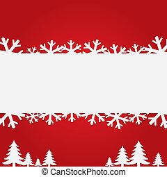 arbres., flocons neige, fond, noël