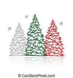 arbres hiver, main, conception, dessiné, ton