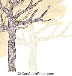 arbres., illustration, stylisé, vecteur, conception, carte