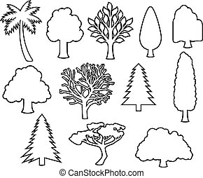 arbres, ligne mince, icônes, vecteur, illustration