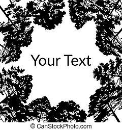 arbres, noir, silhouettes, pin