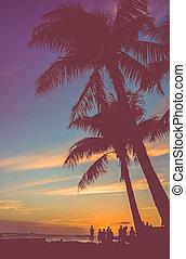 arbres, paume, retro, sous, fête, plage