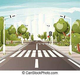 arbres, piétons, marquages route, passage clouté, trafic, vide, trottoir, lights.