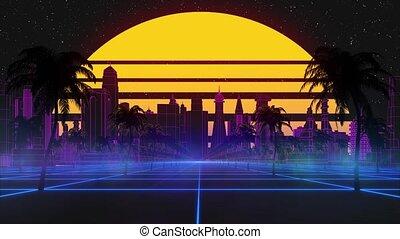arbres, retro, seamless, animation, stylisé, 80s, stars., sci-fi, fond, loop., 3d, ville, incandescent, soleil, paume, futuriste, vendange, moderne