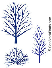 arbres, silhouette.
