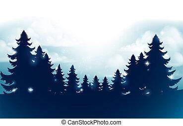 arbres, silhouette, noël, fond