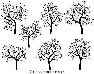 arbres., silhouettes, printemps