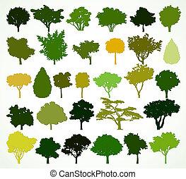 arbres., silhouettes, vecteur, ensemble