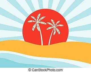 arbres., sunrise., illustration, vecteur, paume, coast., plage