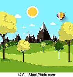 arbres, sur, pré, à, montagnes, arriere-plan