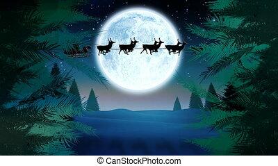 arbres, traîneau, renne, lune, noël, santa