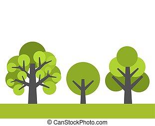 arbres., vecteur, illustration