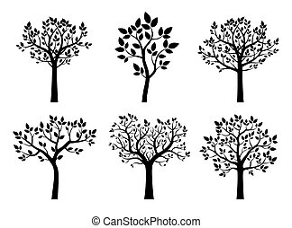 arbres., vecteur, noir, illustration., collection